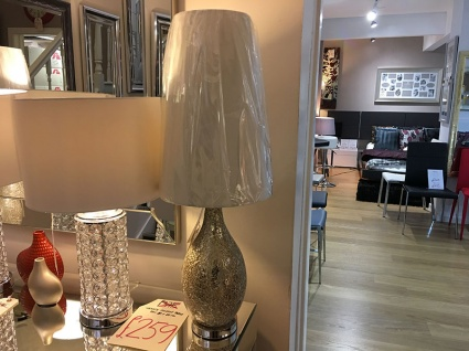 Mercury mosaic champagne lamp display