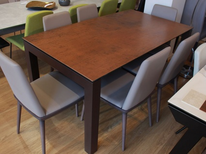 Florence ceramic top ext. dining table in steel corten 160/240x90cm