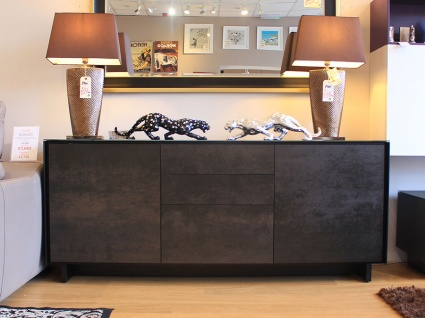 BOOK Sideboard 04 glass frame with ceramic fronts 185cm