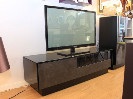 BOOK black glass TV stand with ceramic fronts display 155cm