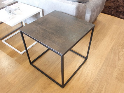 Julia square sidetable in steel dark porcelain display