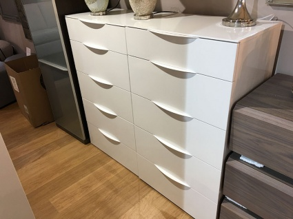 Maxim tall chest of drawers in white gloss display
