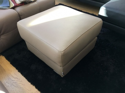 Doblo leather square footstool display 60cm