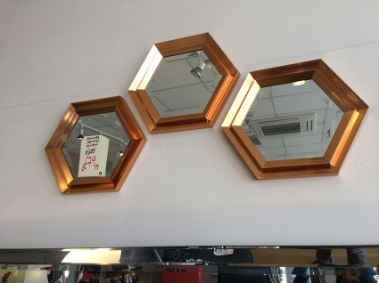 Fawkner hexagon mirror set of 3 display