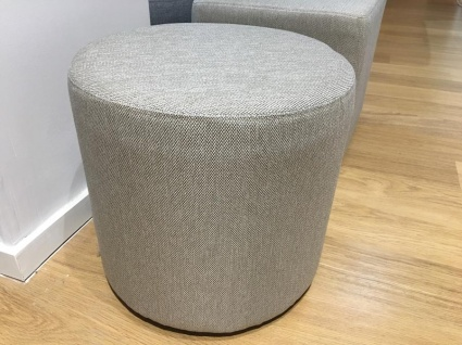 Cylinder fabric pouf in beige