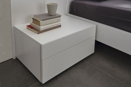 Kinun bedside cabinet 2 drawers in matt White
