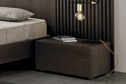 Kinun bedside cabinet 2 drawers Dark Oak