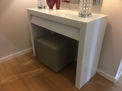 Bianca white glass console table 107cm
