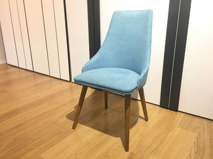 Berta dining chair in fabric with wooden legs display x6
