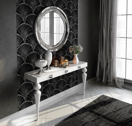 Luxe console with matching mirror 035