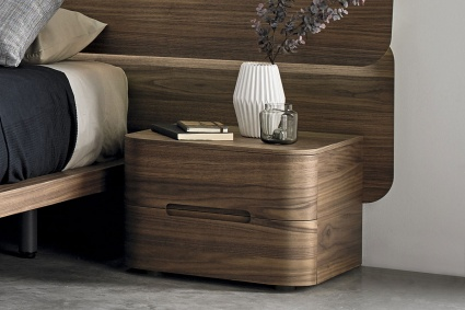 Surf bedside cabinet 2 drawers in Walnut