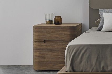 Surf tall bedside cabinet 2 drawers in Walnut