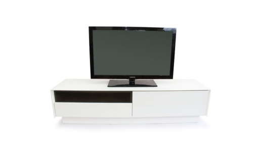 Book white glass TV stand 01