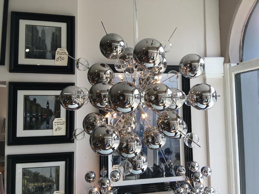 Chrome bubble chandelier display aloadofball Image collections