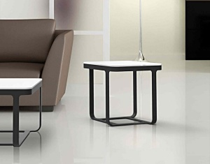 Bianca white glass side table