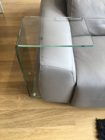 Eva curved clear glass side table