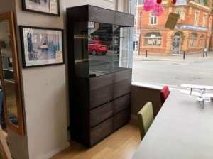 Faro wooden vitrine tall sideboard display 107x190cm