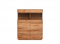 Faro tall wooden sideboard 2 glass shelves