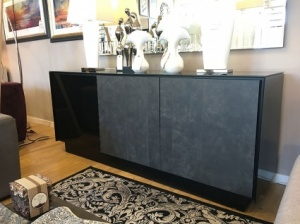 BOOK Sideboard glass frame and ceramic 185cm