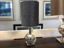 Silver Mercury Thistle lamp with black crocodile shade display