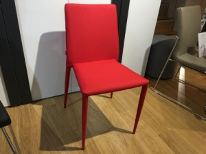 Derby red fabric dining chairs x4