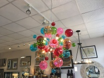 Colour bubble chandelier display