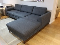 Emily sofa and chaise in dark grey 291cm
