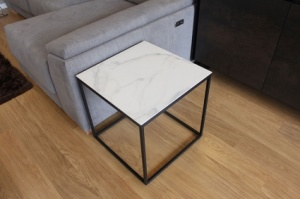 Julia square sidetable in marble effect porcelain display
