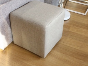 Cube fabric pouf in beige