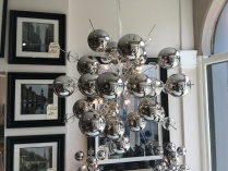 Chrome bubble chandelier display