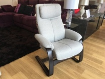 Asia recliner armchair in light grey fabric