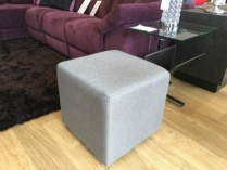 Cube fabric pouf in light grey