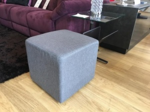 Cube fabric pouf in grey