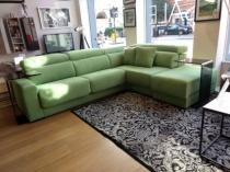 Indico corner sofa in green fabric ex-display 287x226cm
