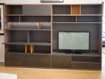 Line bookshelf combination steel dark display 306x202cm