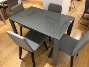 Brooklyn glass ext. dining table 110/170x70cm + 6x Rania chairs