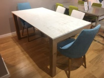 Chamonix ext. Dekton top table with oak legs 160/250x90cm