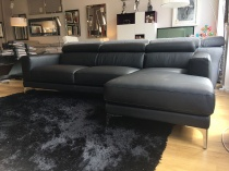 Chiara sofa and chaise in black leather display 240x166cm