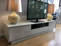 BOOK arena glass TV stand with ceramic fronts display 215cm