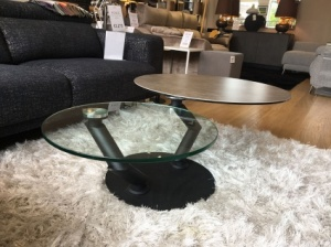 Round porcelain and glass coffee table 105/139x80cm