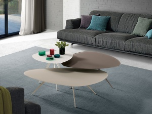 Trendy glass triangular coffee table