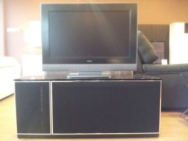 Ajax TV stand black fabric front 120cm
