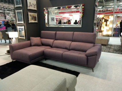Ania Ex Display sofa with chaise in Scribble Amethyst