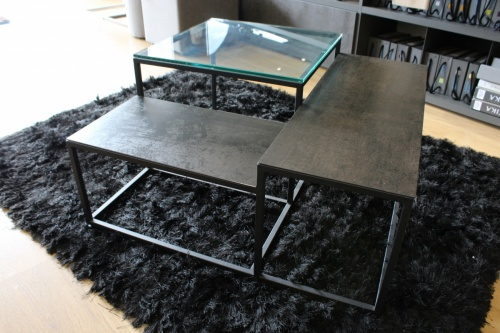 Brasilia porcelain and glass coffee table 80x80x30cm