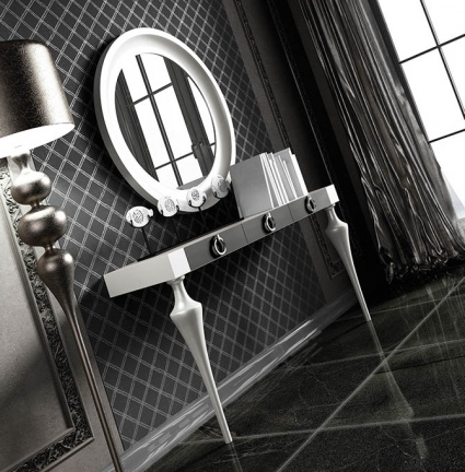 Luxe console with matching mirror 034