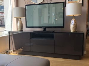 BOOK TV stand in chocolate glass 185cm