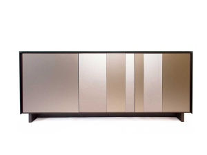 BOOK sideboard 06 ceramic frame with striped glass fronts