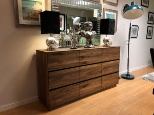 Faro walnut 3 door sideboard with drawers display 160cm