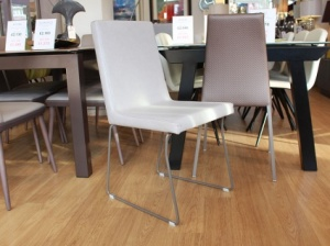 Liz dining chair in faux leather with mink legs x6