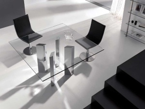 Logic square glass dining table